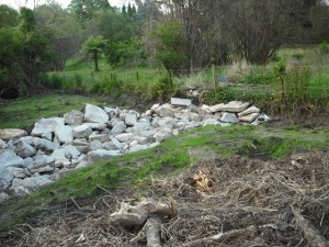 Rock lining of Lawson creek tributary to minimise sediment flows, Waratah street Jan 2010